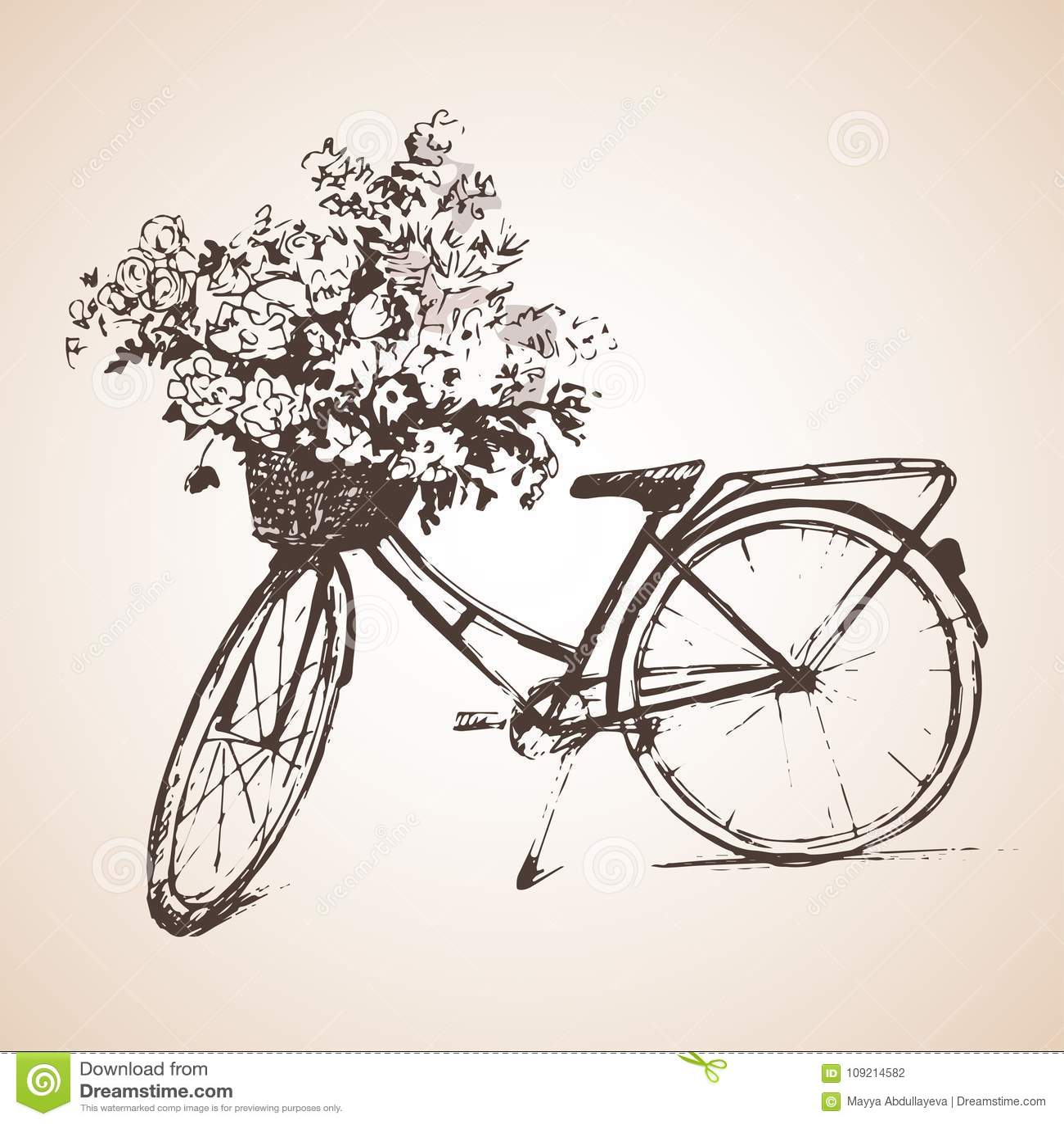 Bike with big bunch of flowers. Sketch.