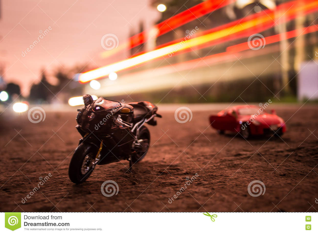Bike And Car Toy Photography Stock Photo Image Of Cool