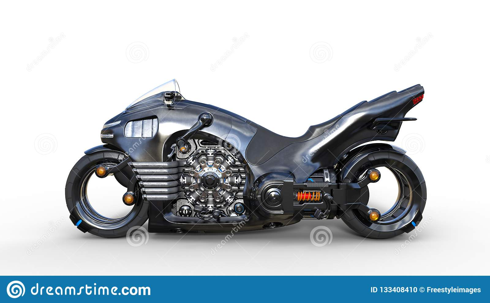 Bike With Chrome Engine, Black Futuristic Motorcycle