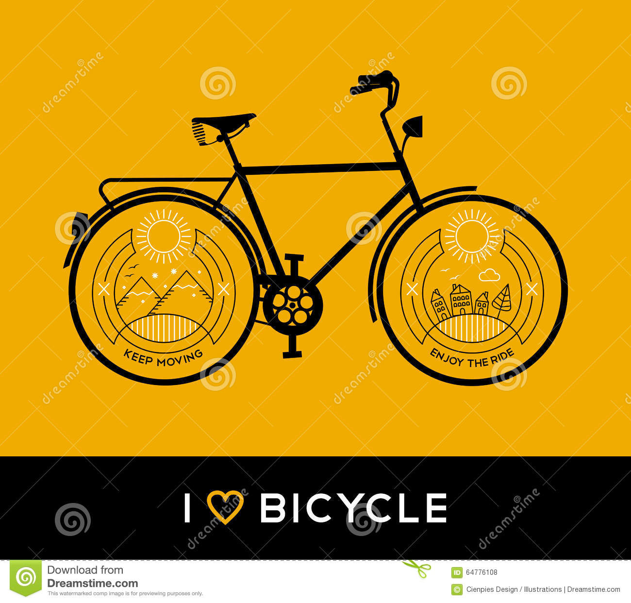 Line Art Poster Design : Bike concept bicycle line art nature mountain stock vector