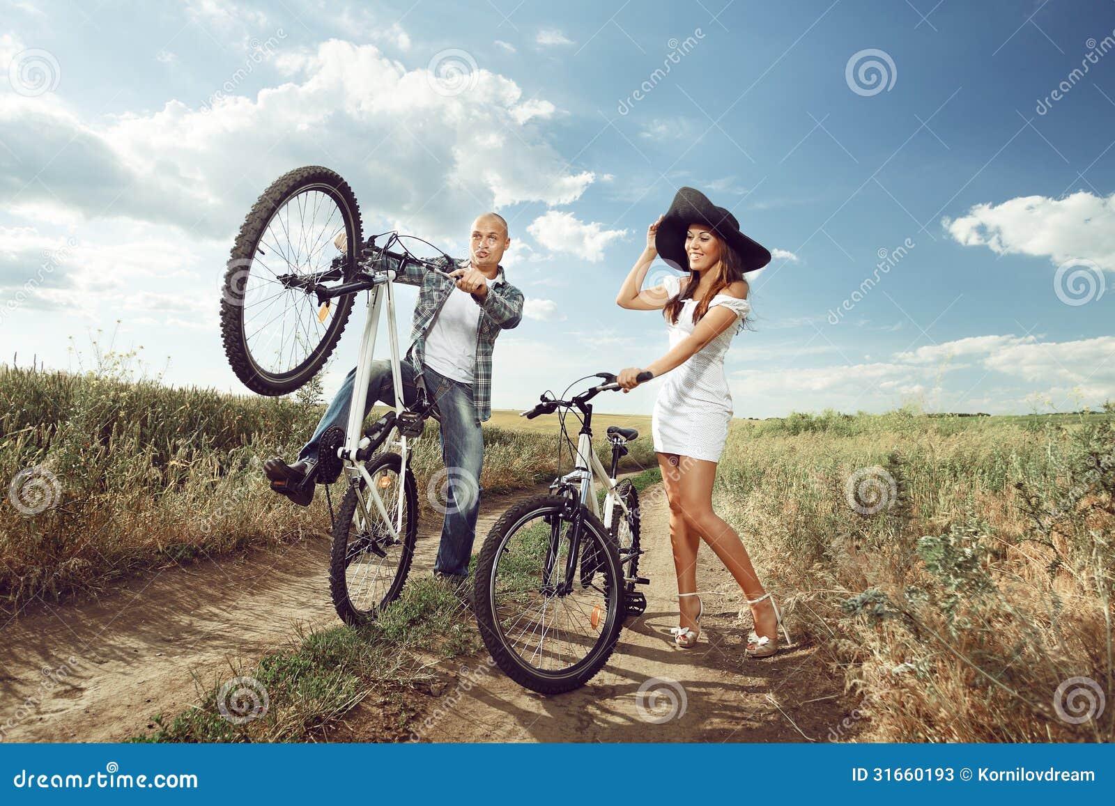 bike couple stock image image of adventure bicycle 31660193