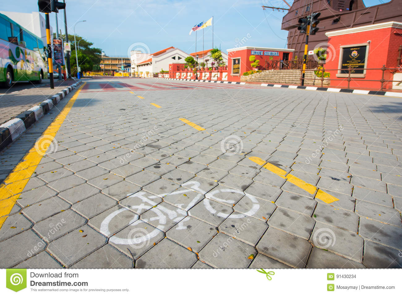Bike Lane For Safety Ride In Town Stock Photography ...