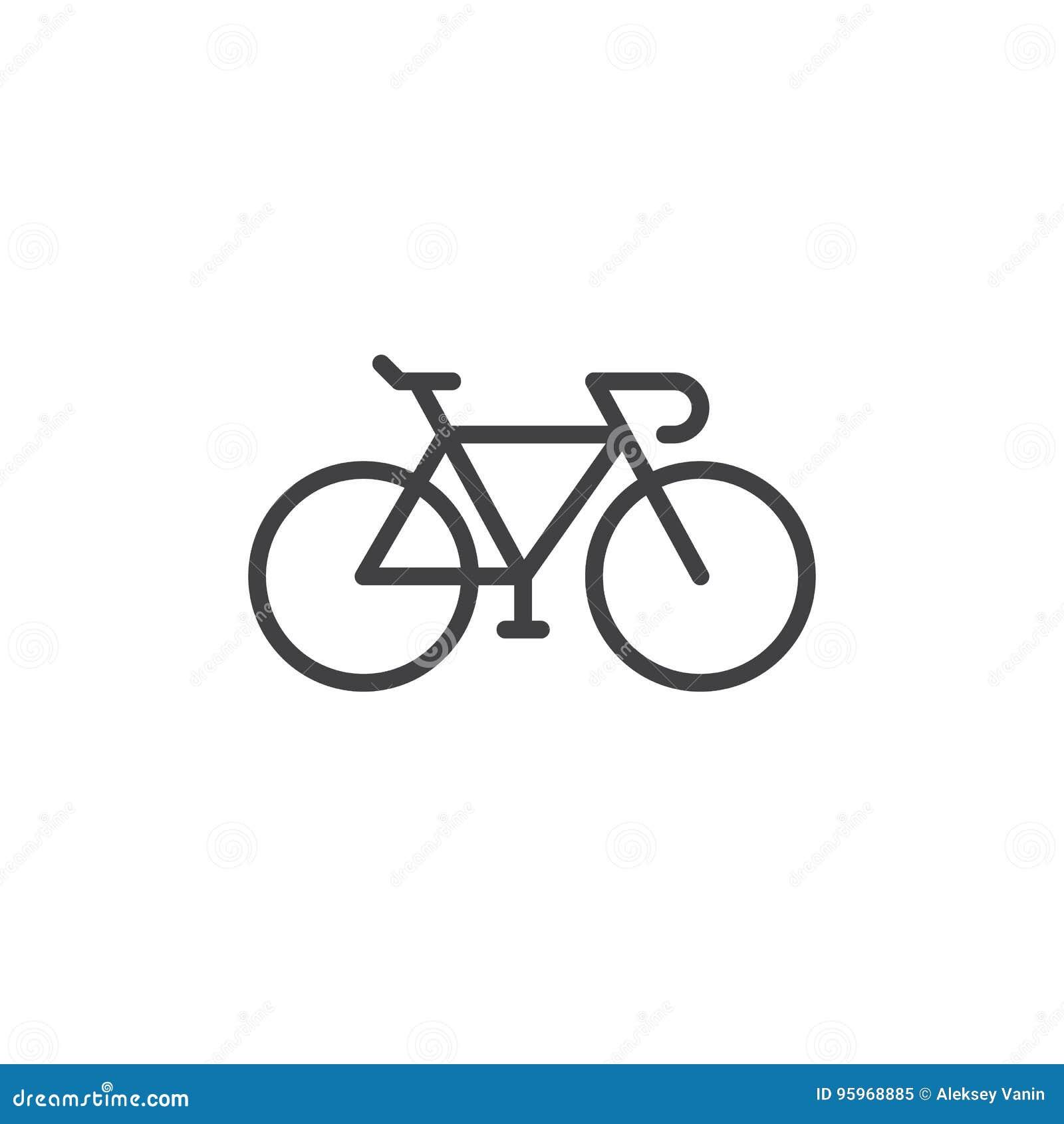 Bike, linha ícone da bicicleta, sinal do vetor do esboço, pictograma linear do estilo isolado no branco
