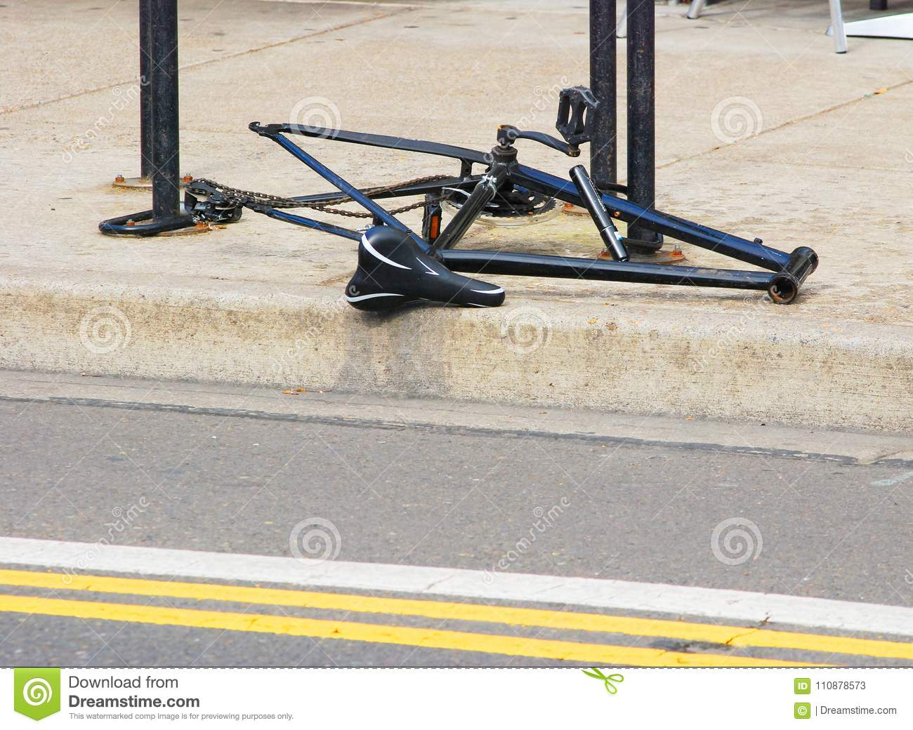 Bike With Missing Wheels And Handlebars Stock Image Image Of City
