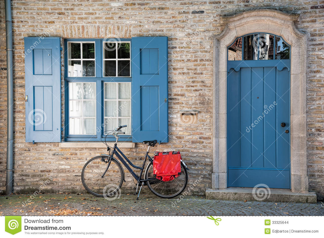 Bike outside house stock photo image of door belgium for Outer doors for homes