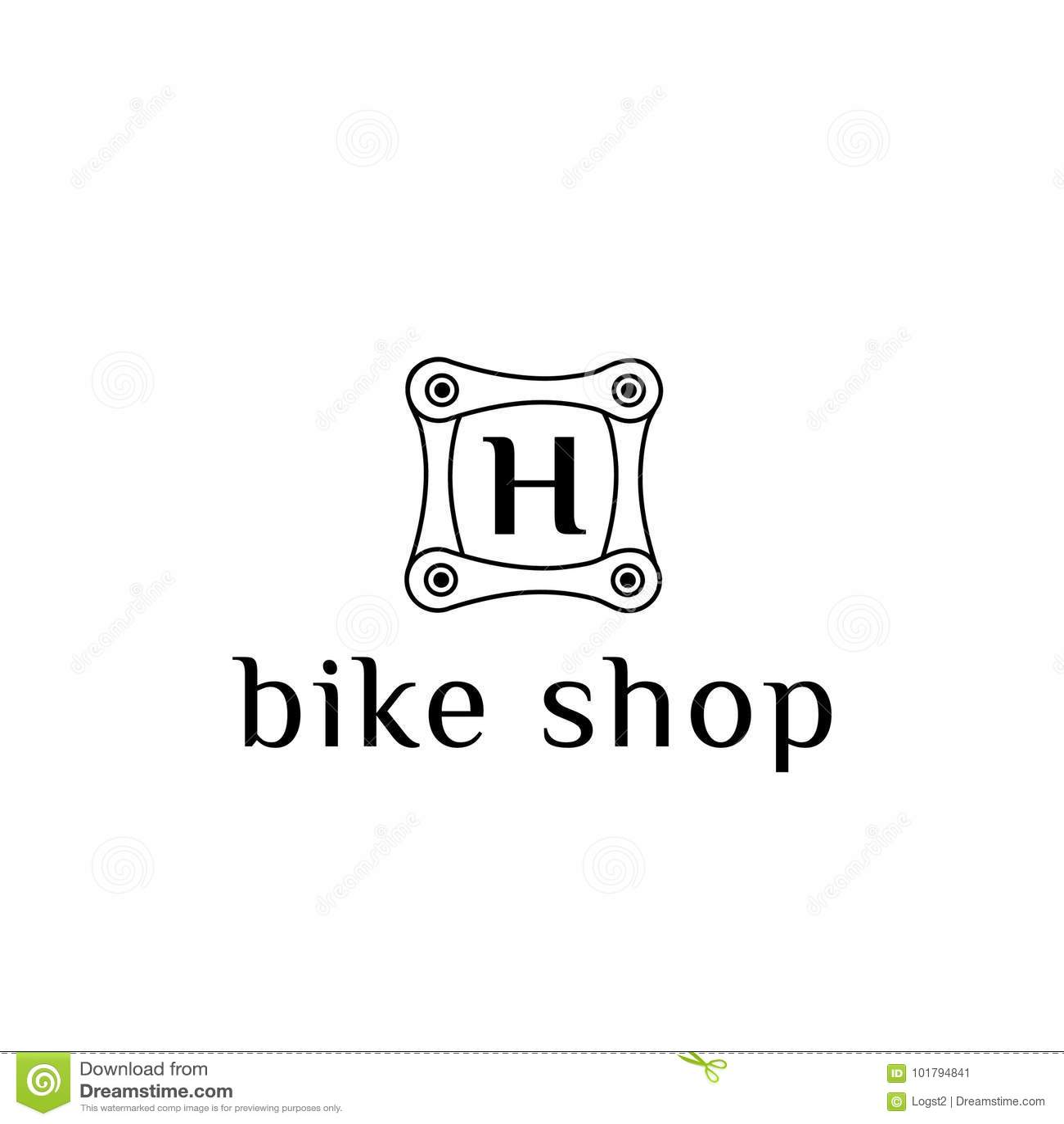 Bike Part Vector Logo For Bike Shop Letter H Stock Vector