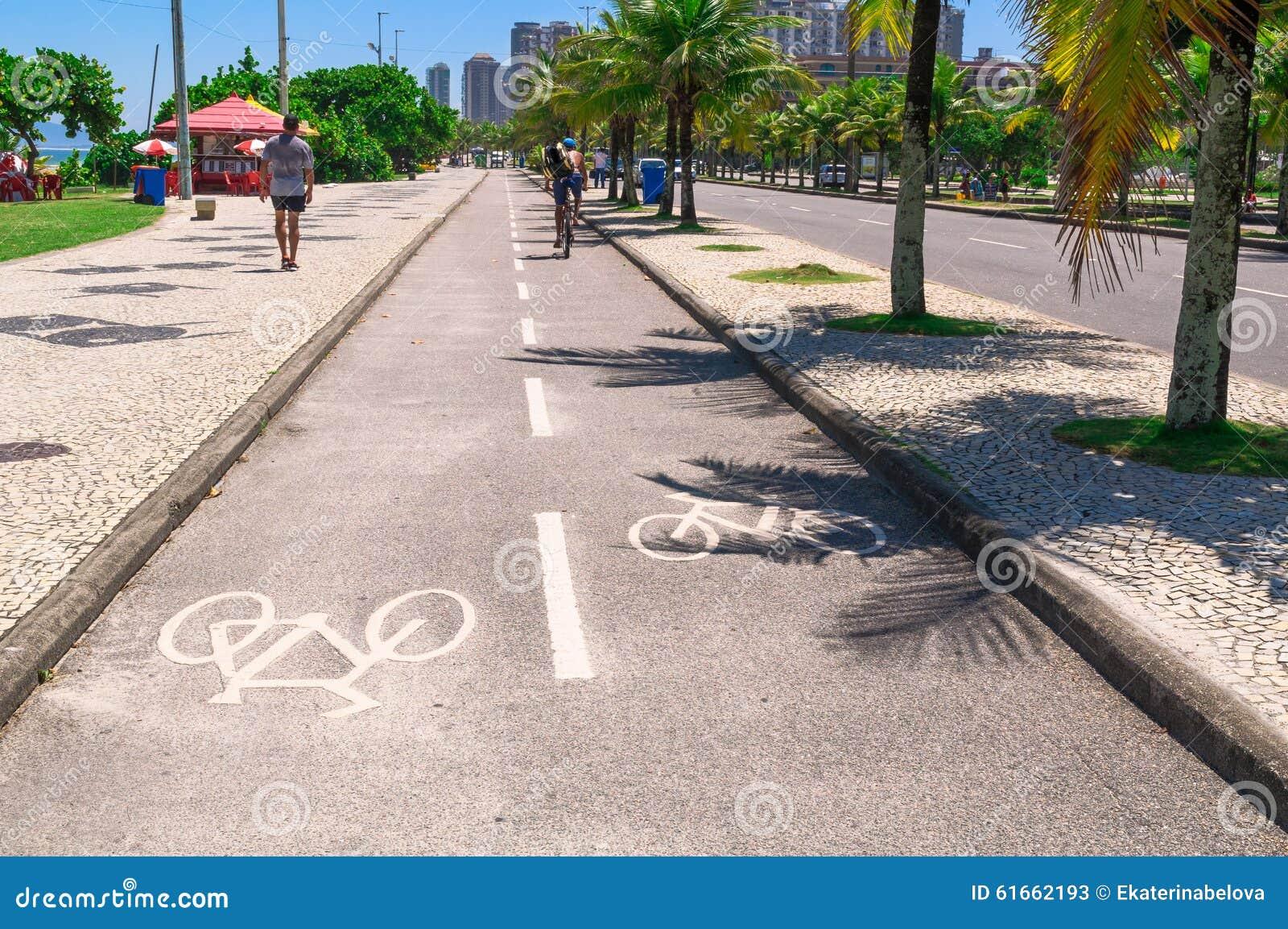 Bike path of seafront in Barra da Tijuca, Rio de Janeiro