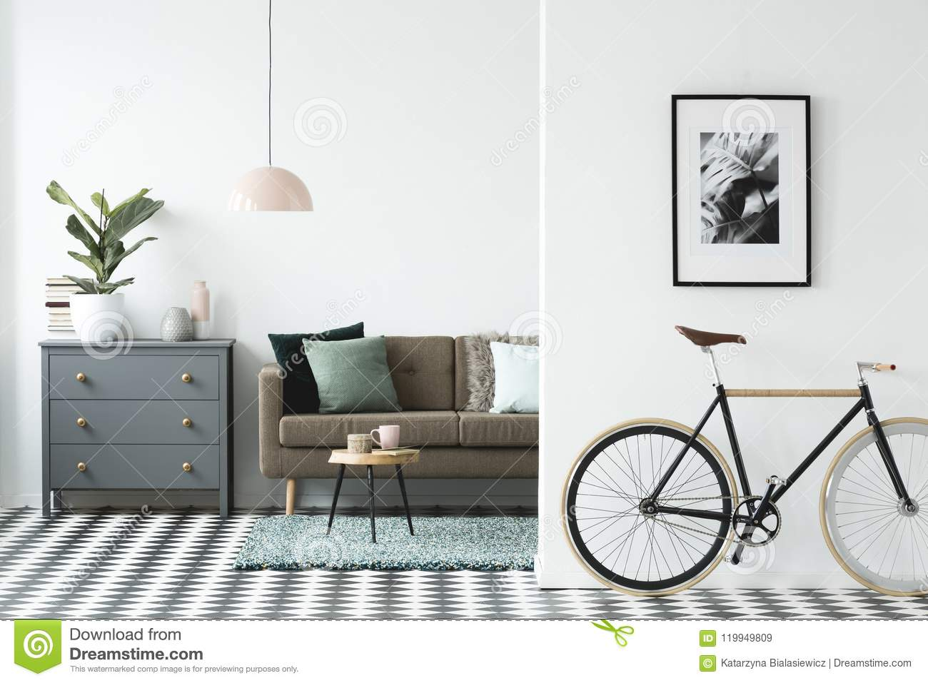 Modern Interieur Wit : Bike and poster on the wall in a modern living room interior wit