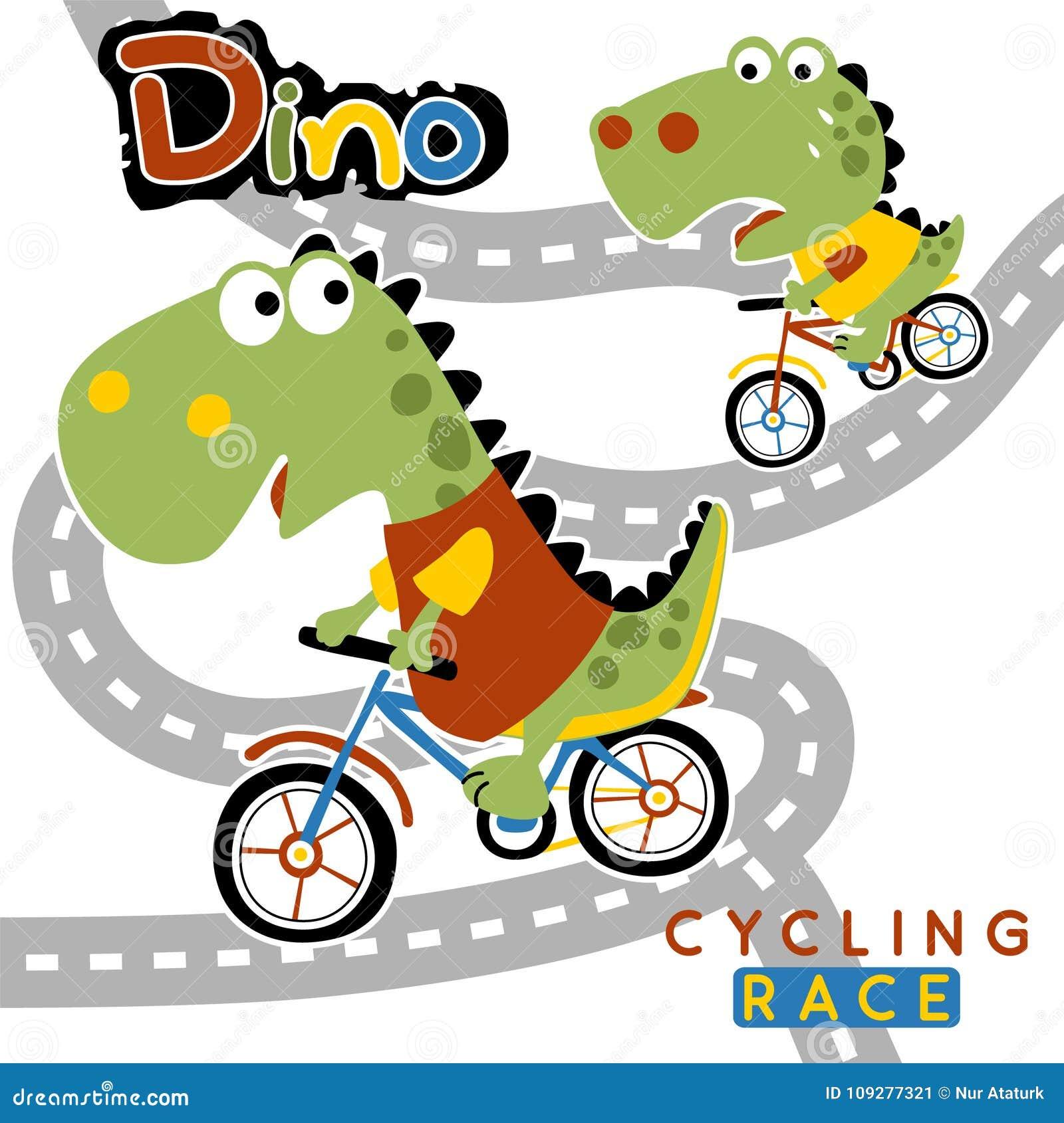 Bike racing cartoon on white background
