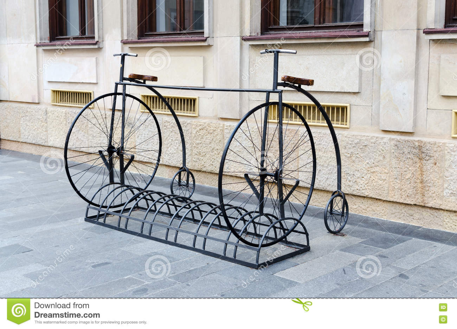 Bike Stand In Penny Farthing Design Bratislava Stock Photo