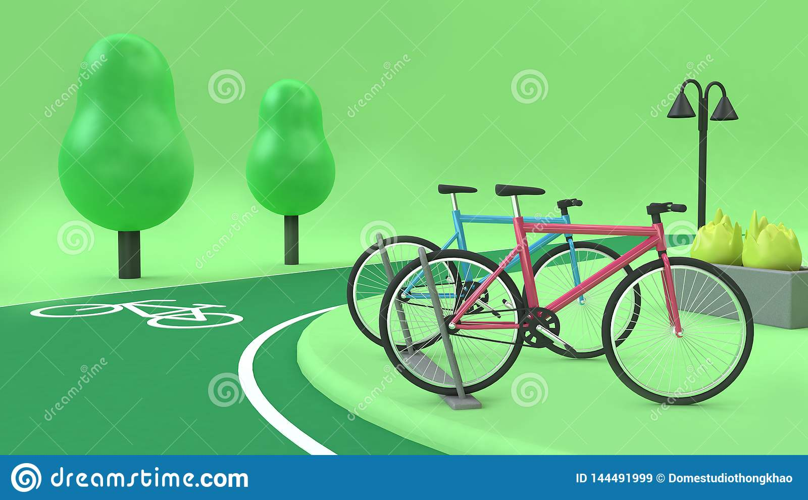 Bike station with bike lane green parks 3d low poly trees 3d rendering cartoon style,transportation nature