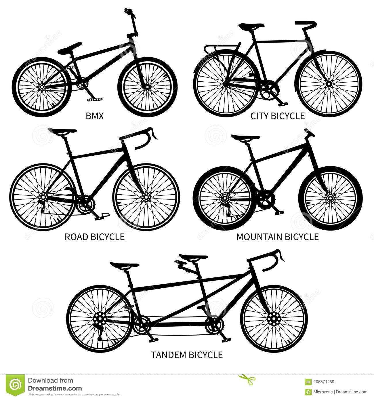 Types Of Bicycles >> Bike Types Vector Black Silhouettes Road Mountain Tandem Bicycles