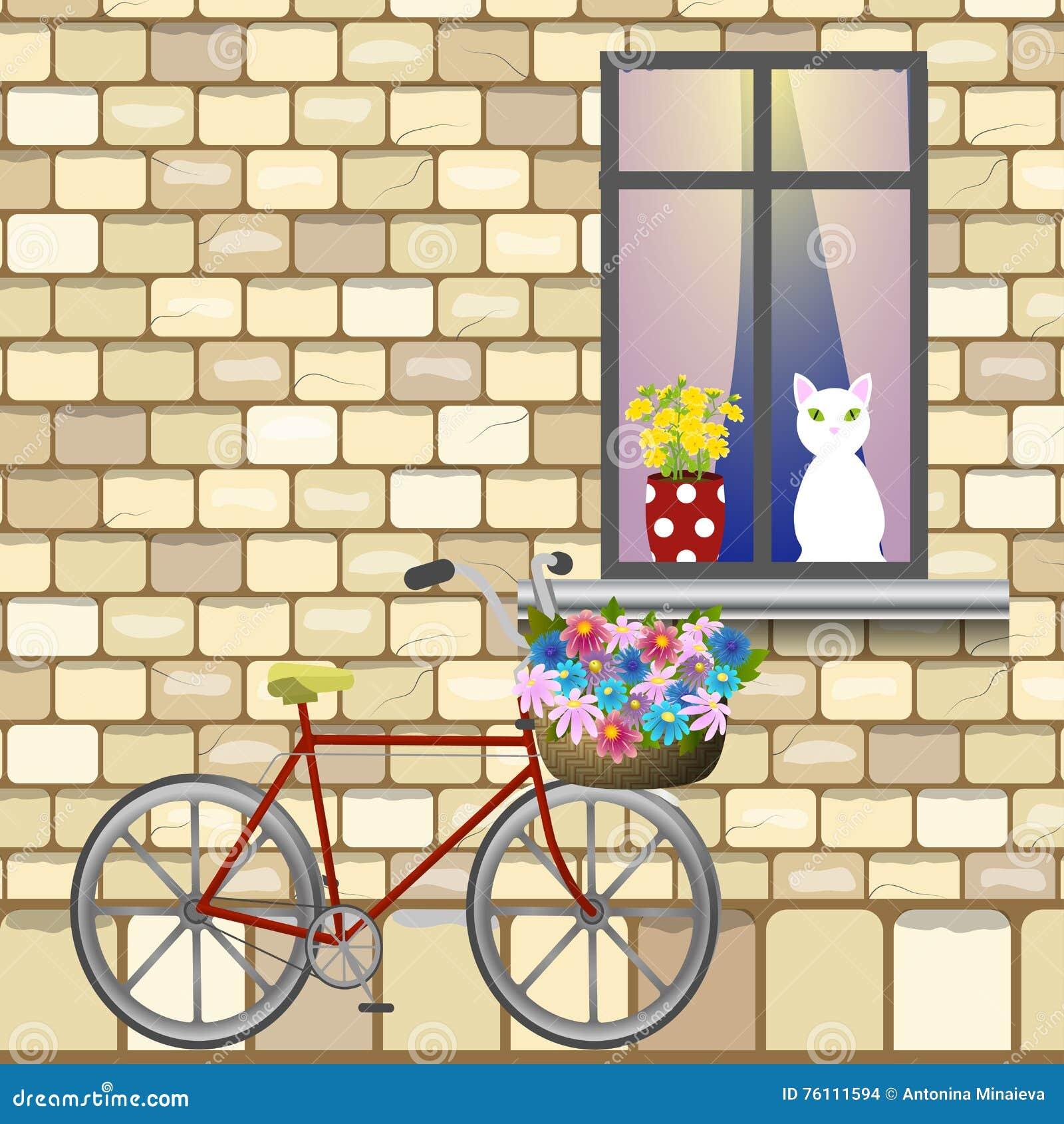 Bike under window stock vector. Illustration of green - 76111594
