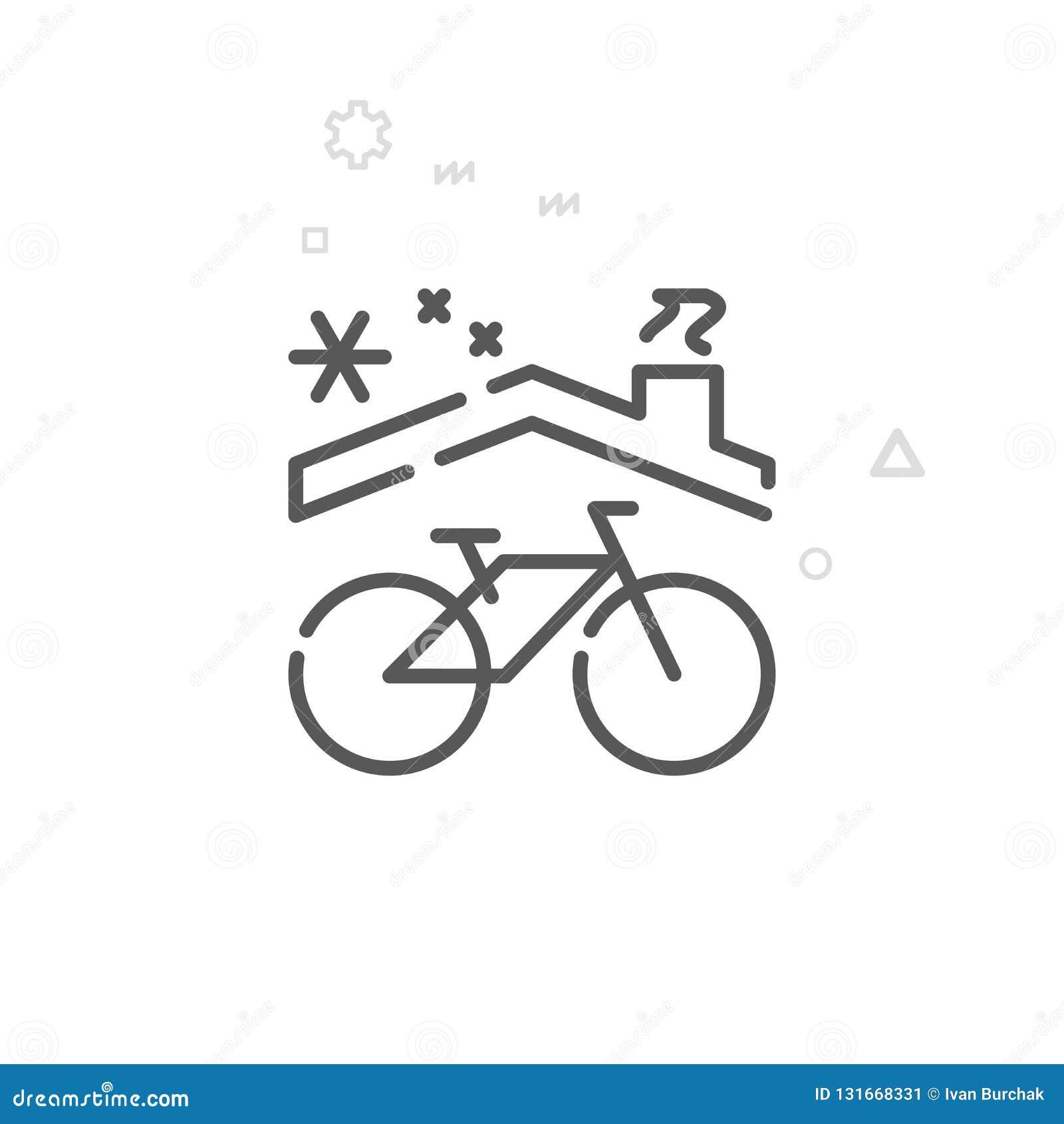 Bike Winter Storage Vector Line Icon, Symbol, Pictogram, Sign. Light Abstract Geometric Background. Editable Stroke