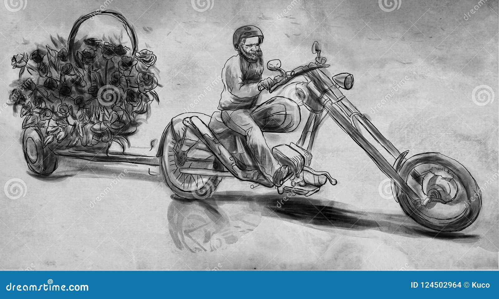 Biker Creatore di amore Un illustrazione disegnata a mano, sketchin a mano libera