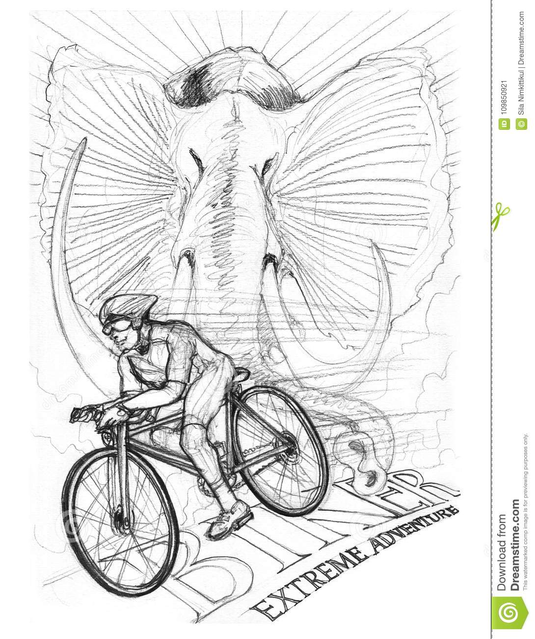 Biker driving bicycle with africa elephant pencil stroke drawing