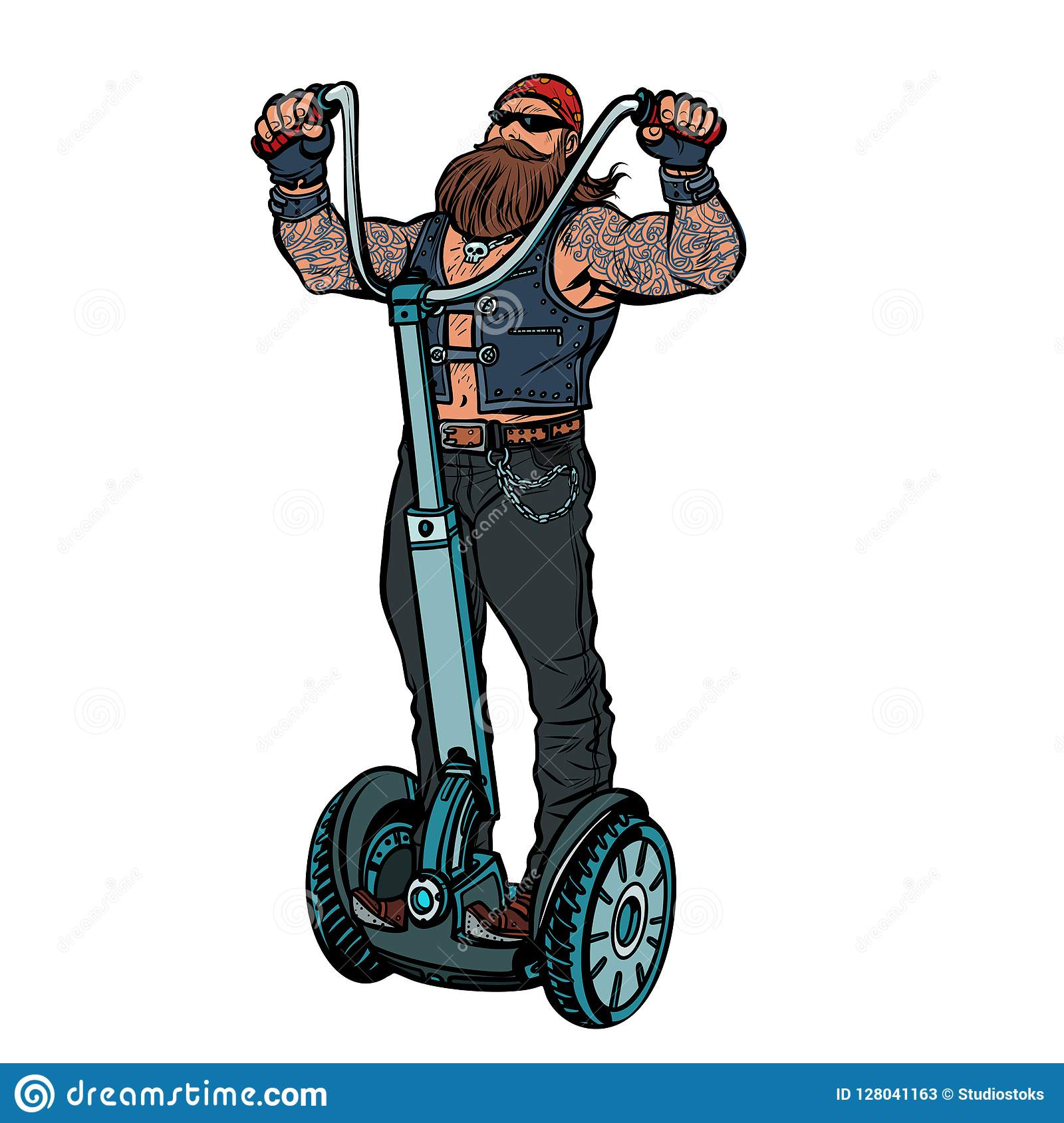 Biker On Electric Scooter Rider Isolate On White Background Stock Vector Illustration Of Club Drawing 128041163