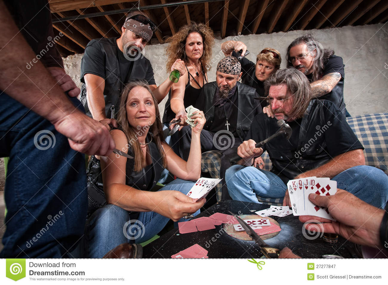 Biker gang lady shows winning hand royalty free stock photography image 27277847 - Gang gang ...