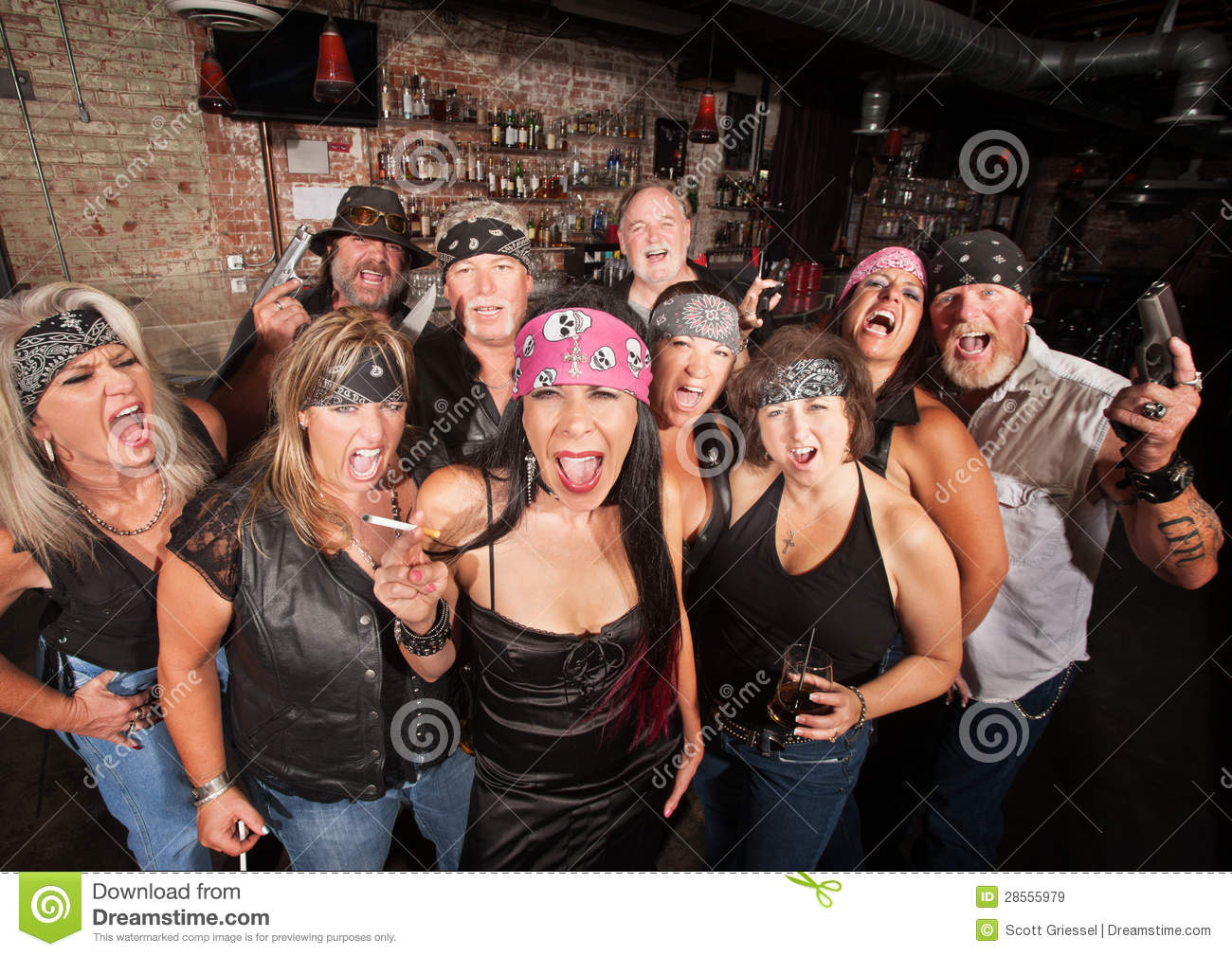 Biker gang with weapons and drinks stock image image 28555979 - Gang gang ...