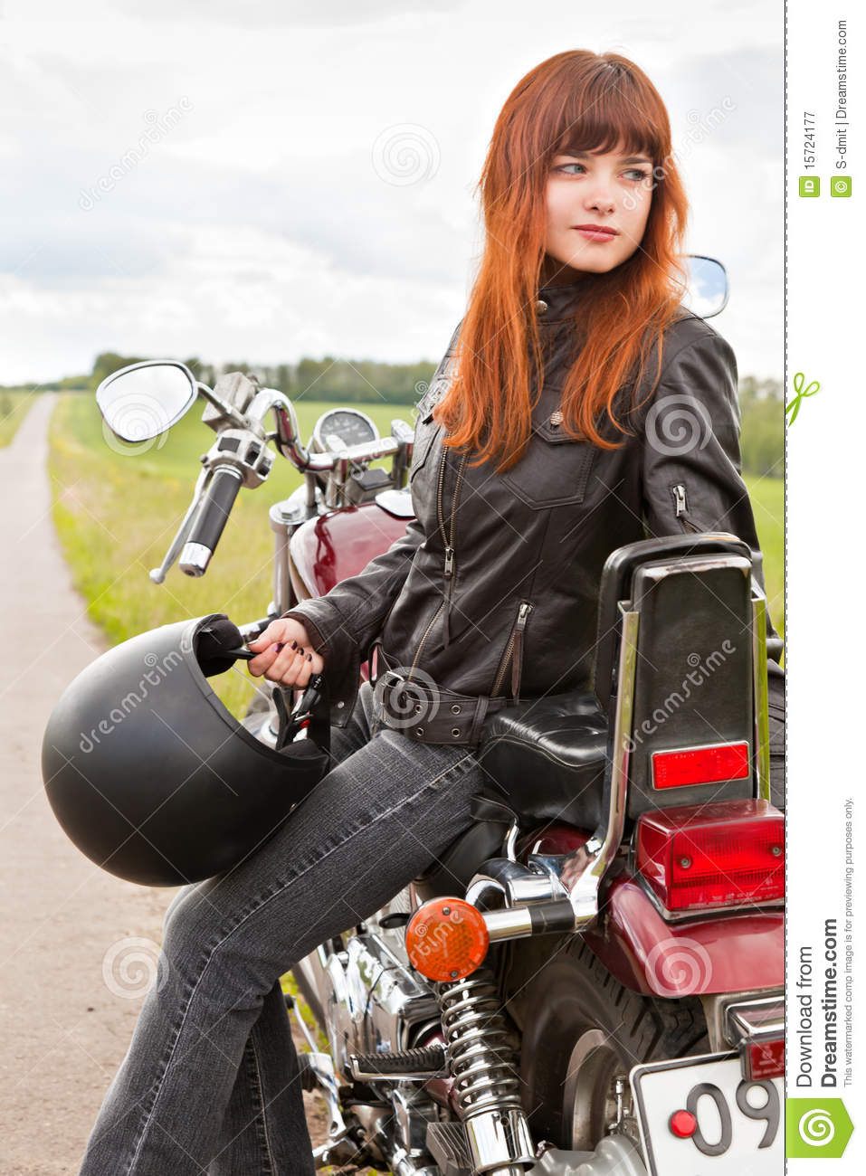 Biker Girl On A Motorcycle Royalty Free Stock Photography - Image ...