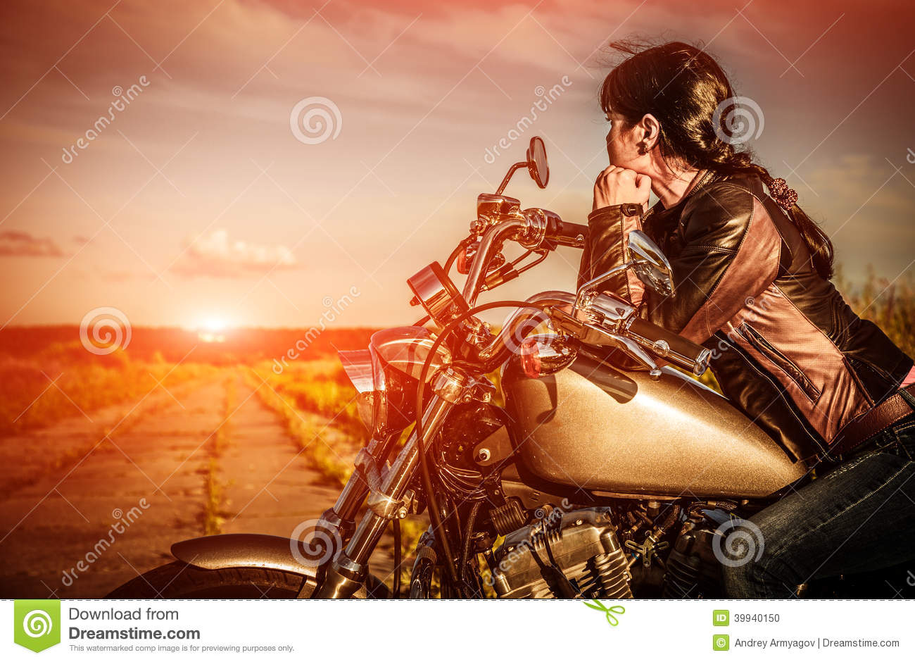 Biker Girl On A Motorcycle Stock Photo Image Of Freedom