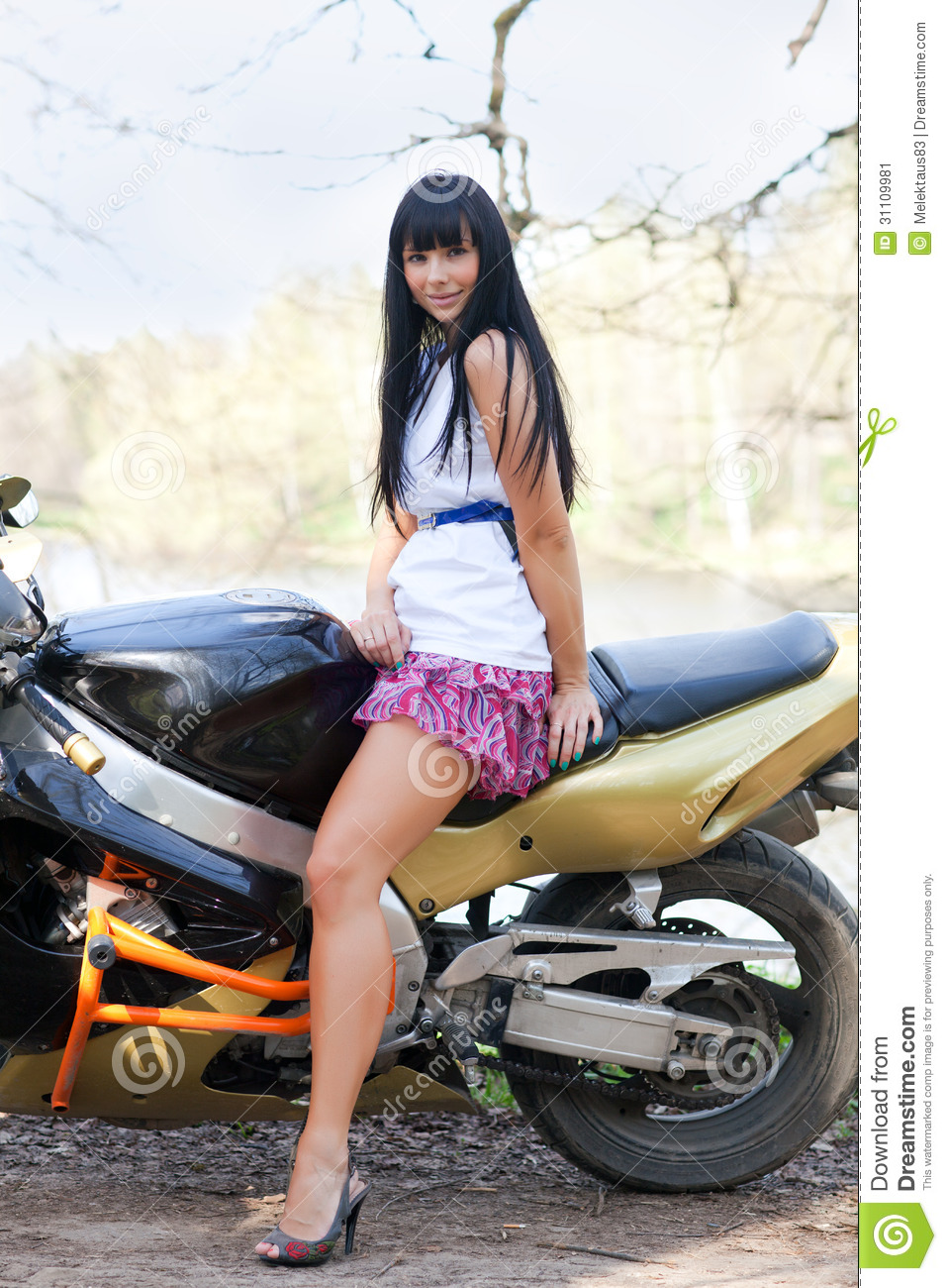 Sportbike Riding Boots >> Biker Girl On A Motorcycle stock image. Image of lady ...