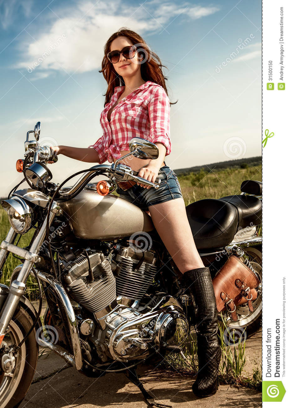 Biker Girl Sitting On Motorcycle Stock Photo Image Of Girl Motorcycle 31500150
