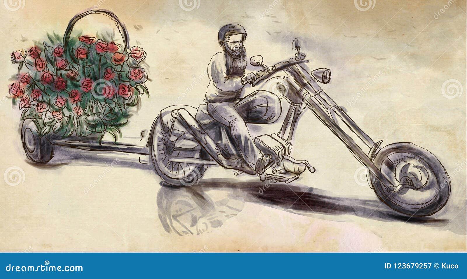 Biker Love Maker An Hand Drawn Illustration Freehand