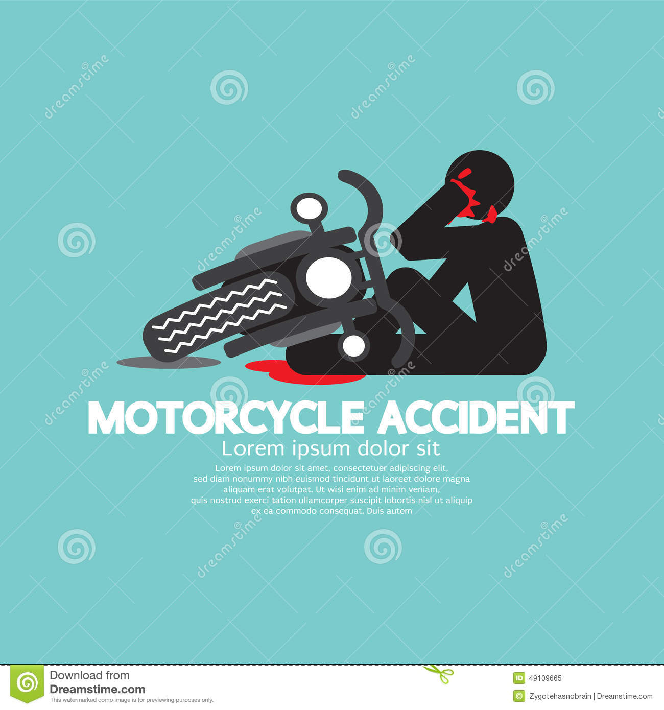 motorcycle crash clipart  Biker With Motorcycle Have In An Accident Stock Vector ...
