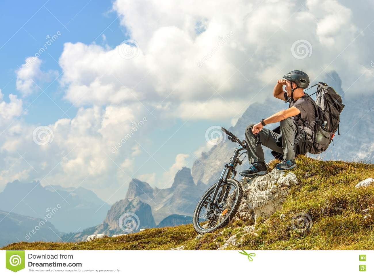 Biker on the Mountain Trail