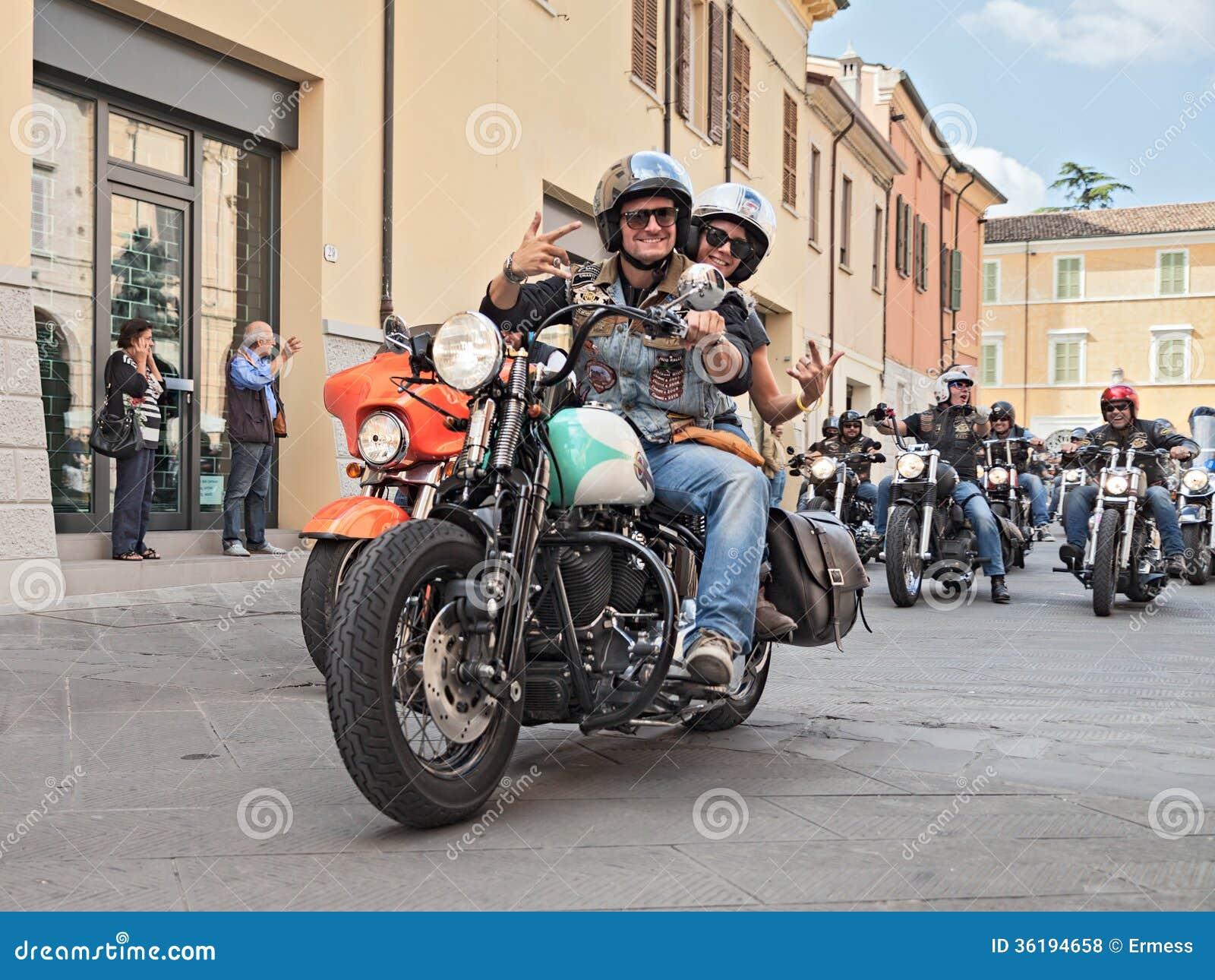 Bikers Waves Riding Harley Davidson Editorial Stock Photo Image Of