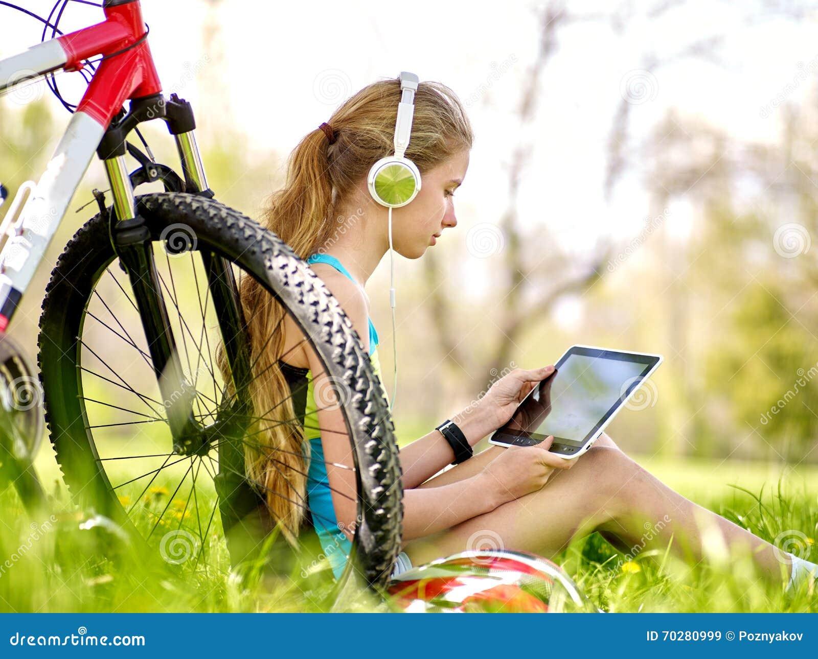 Bikes Cycling Girl Wearing Helmet Rides Bicycle. Royalty ...