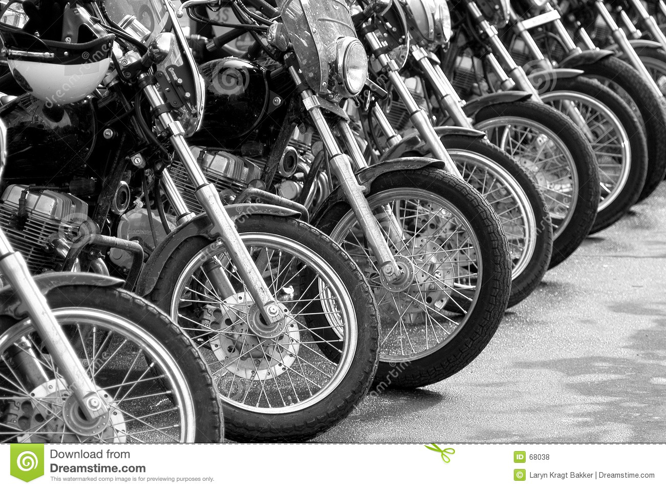 Bikes in a row - cop motorcycle lineup at protest
