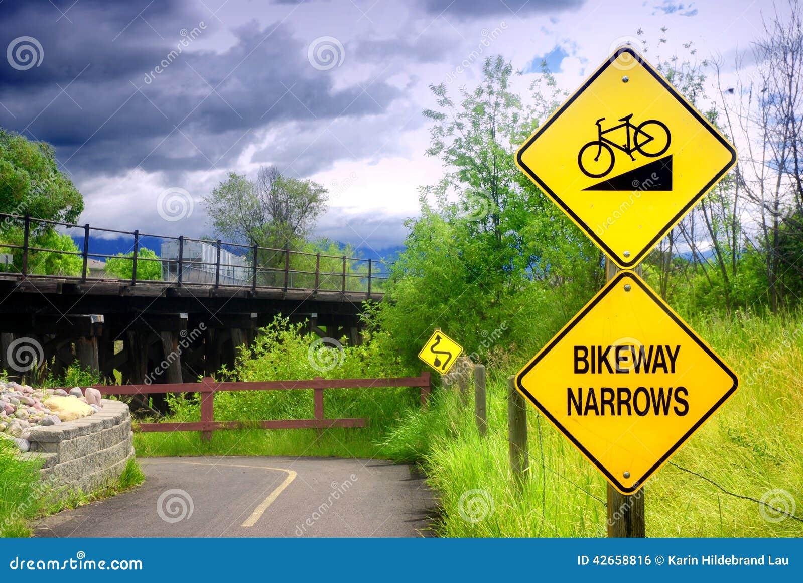 Bikeway Narrows Sign