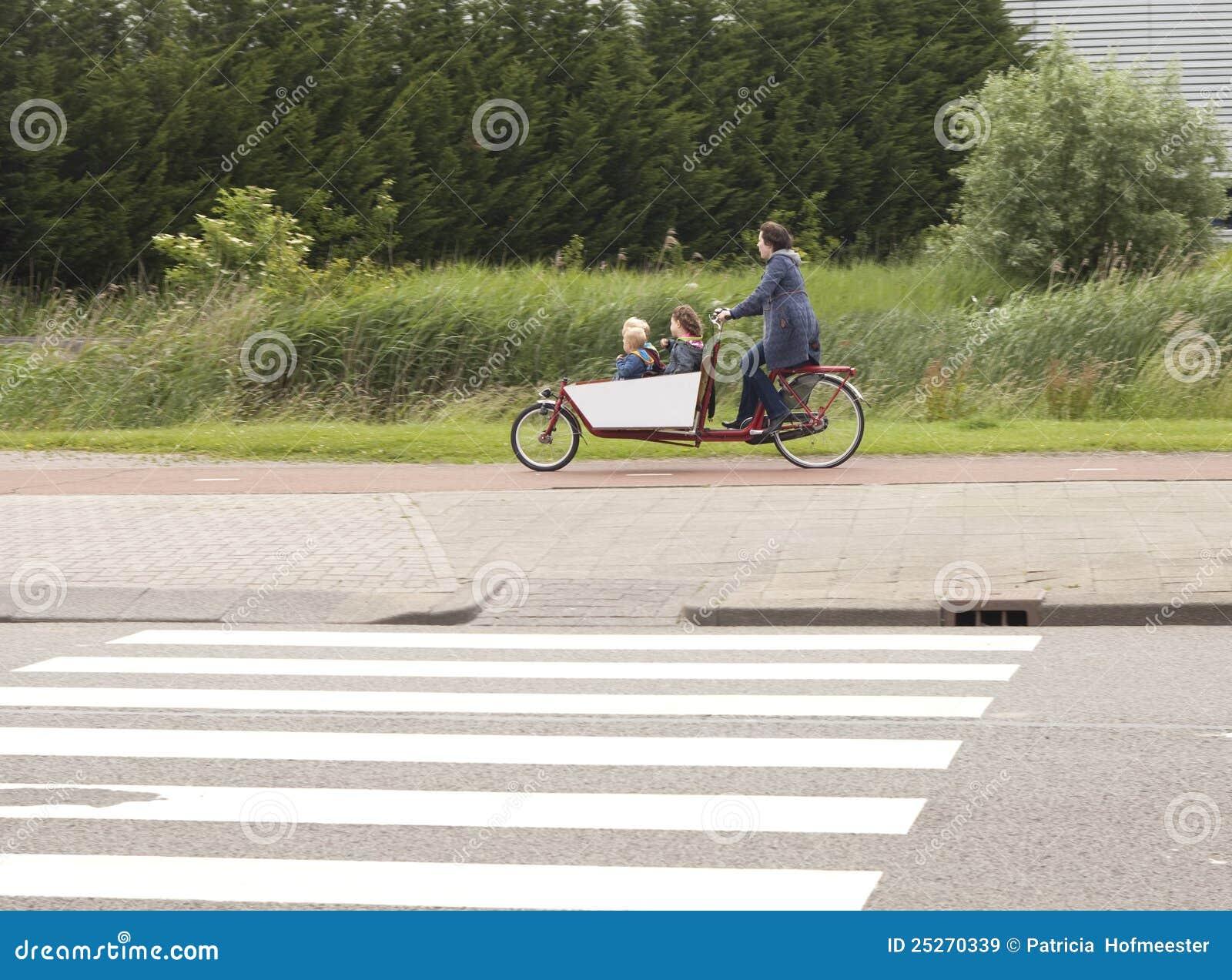 Biking the children to school in the Netherlands