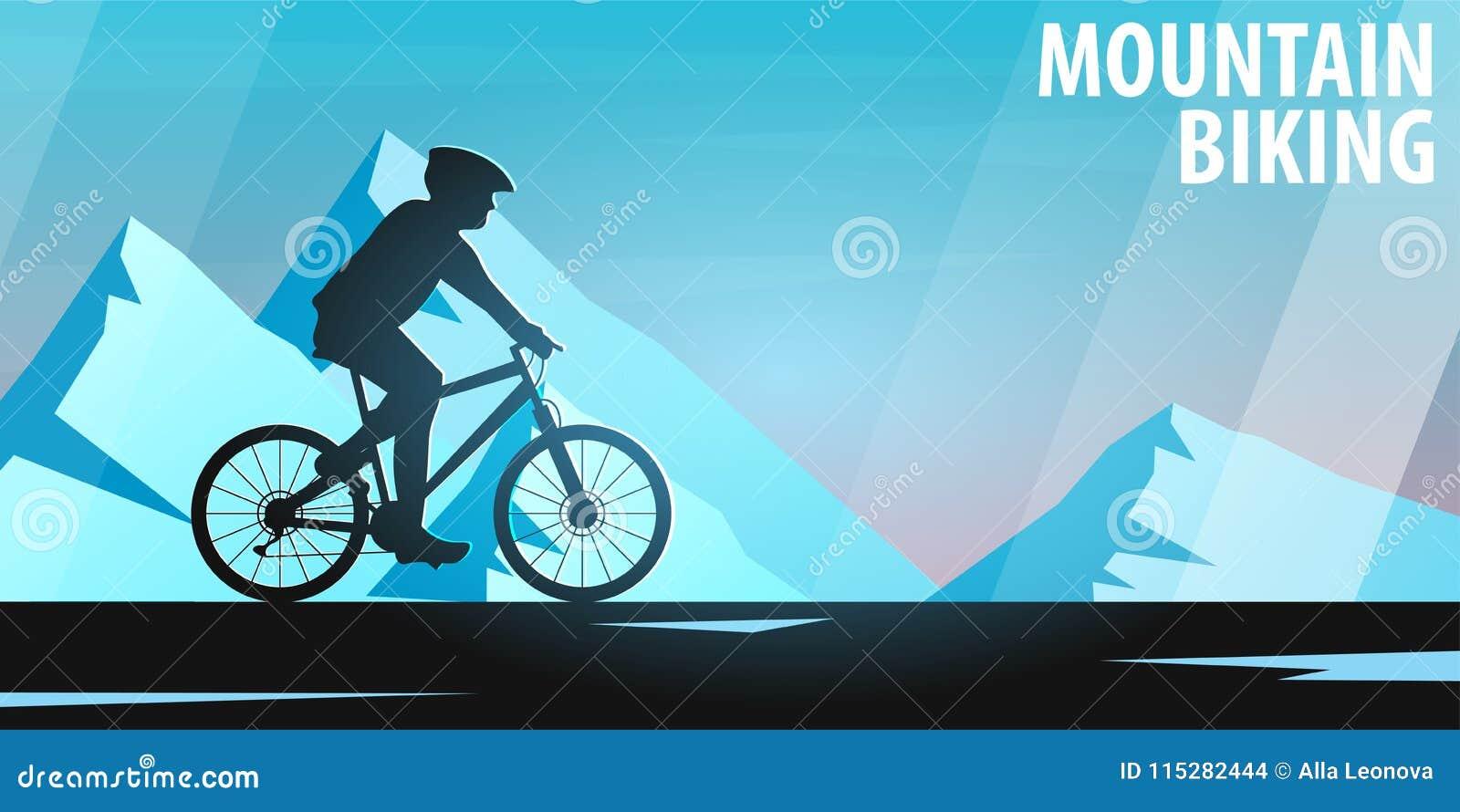Biking da montanha Bicicleta em declive Bandeira do esporte, estilo de vida ativo Ilustração do vetor