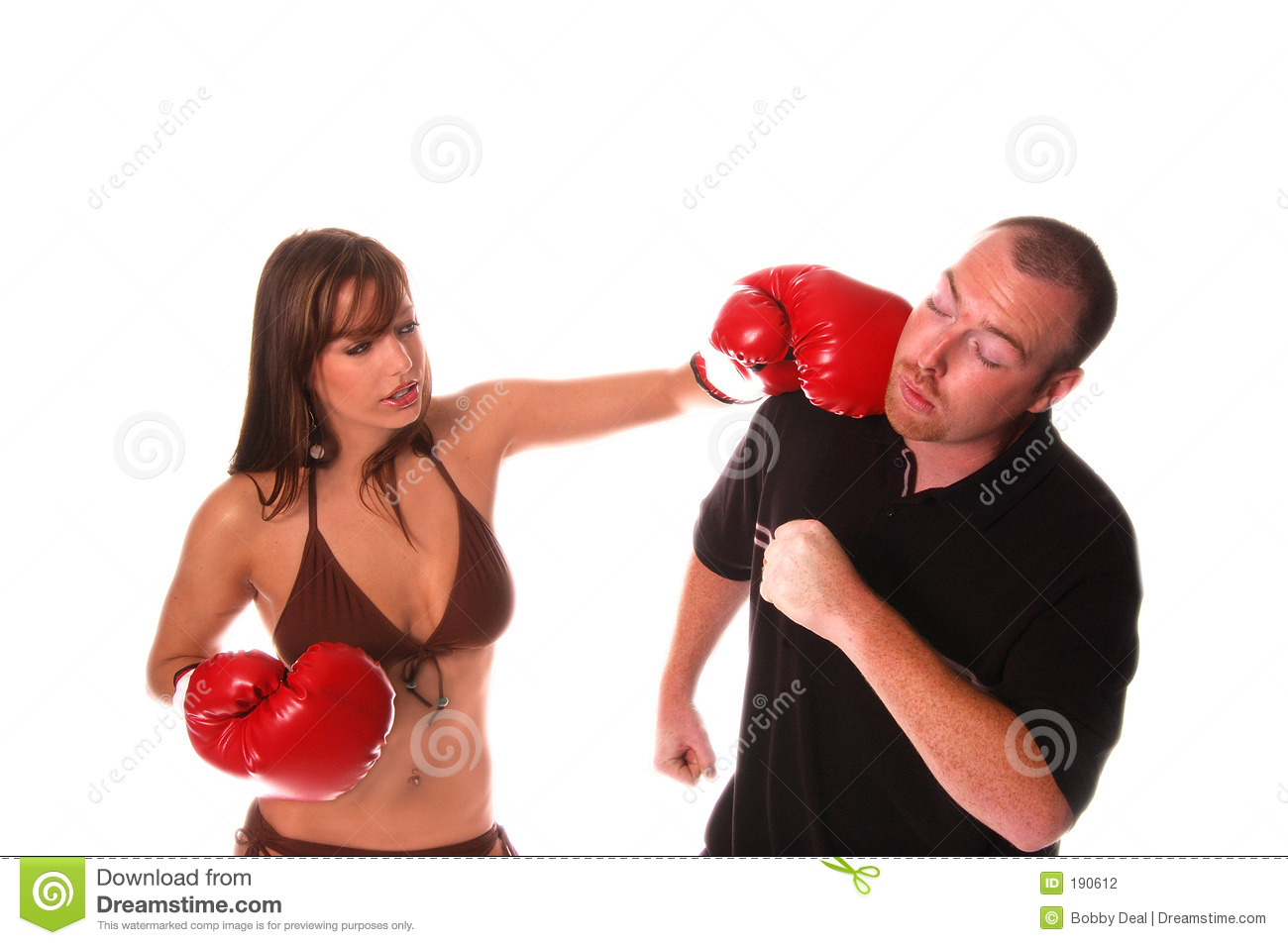 Boxing babe vs man in belly punching boxing match - 4 5