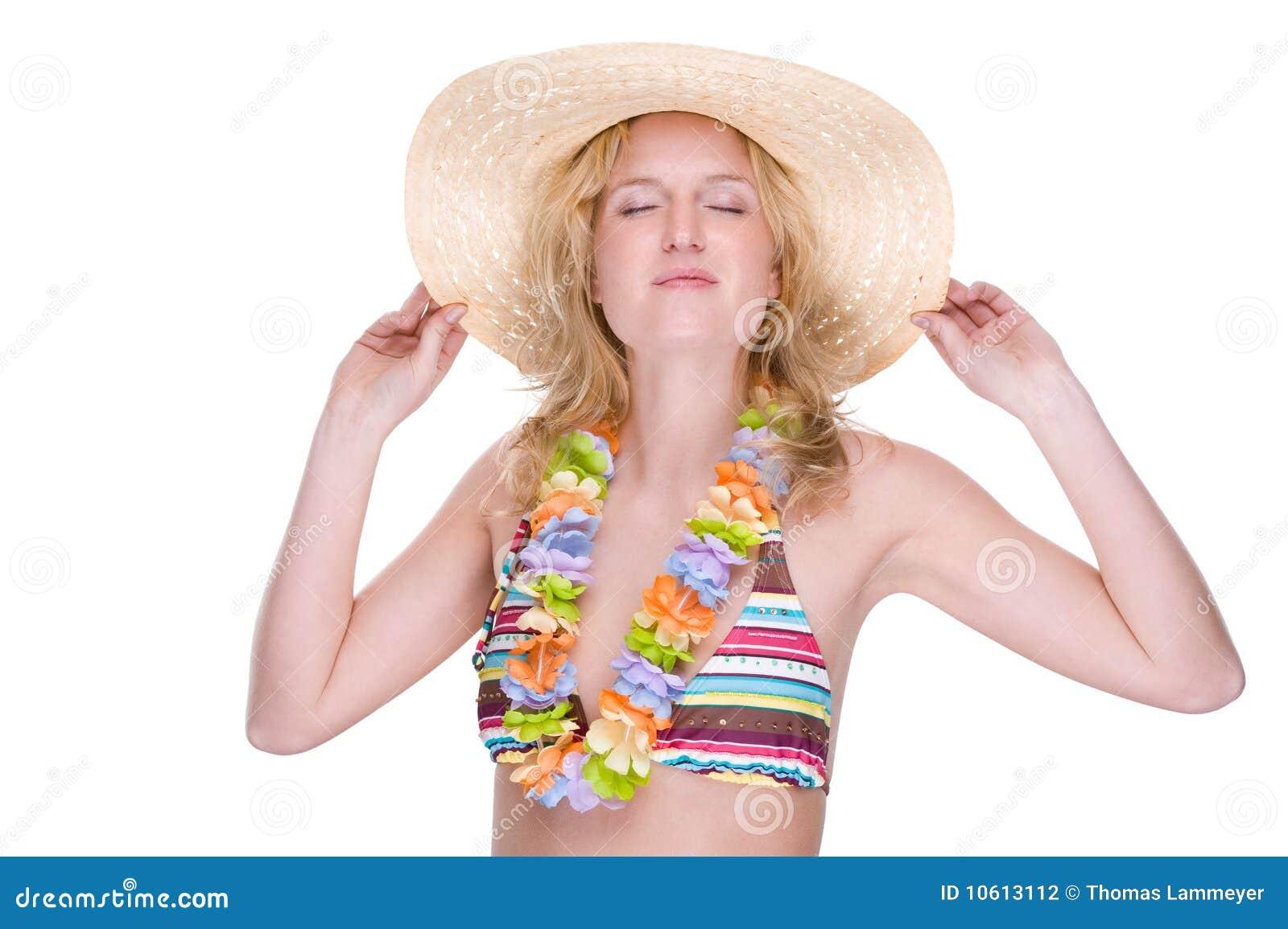 Bikini dziewczyny szczęśliwi lei