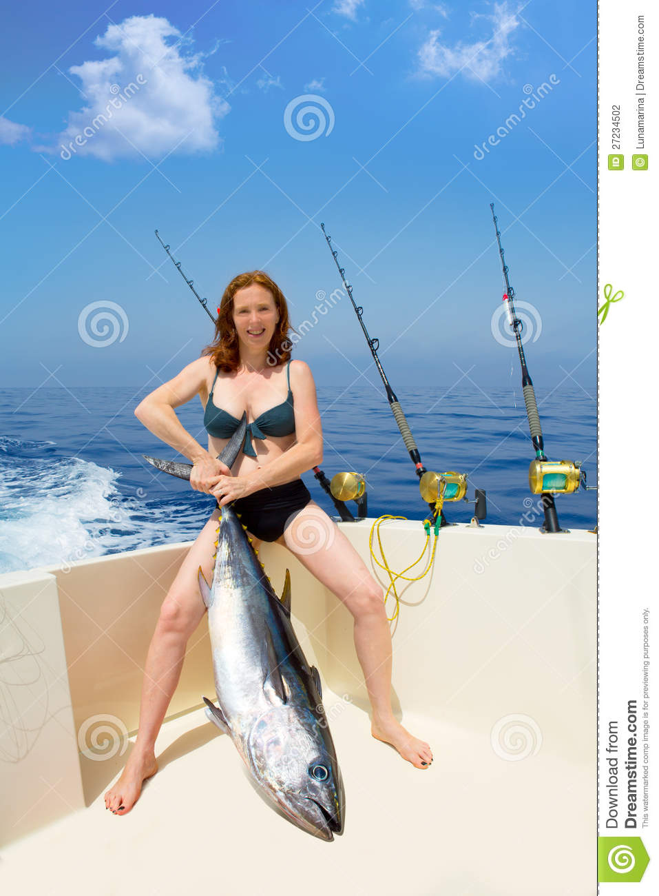 Bikini Fisher Woman Holding Bluefin Tuna On Boat Stock Photography ...
