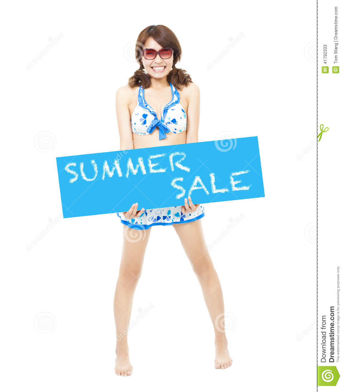 bikini girl holding a sign of summer sale stock photo image 41792333. Black Bedroom Furniture Sets. Home Design Ideas