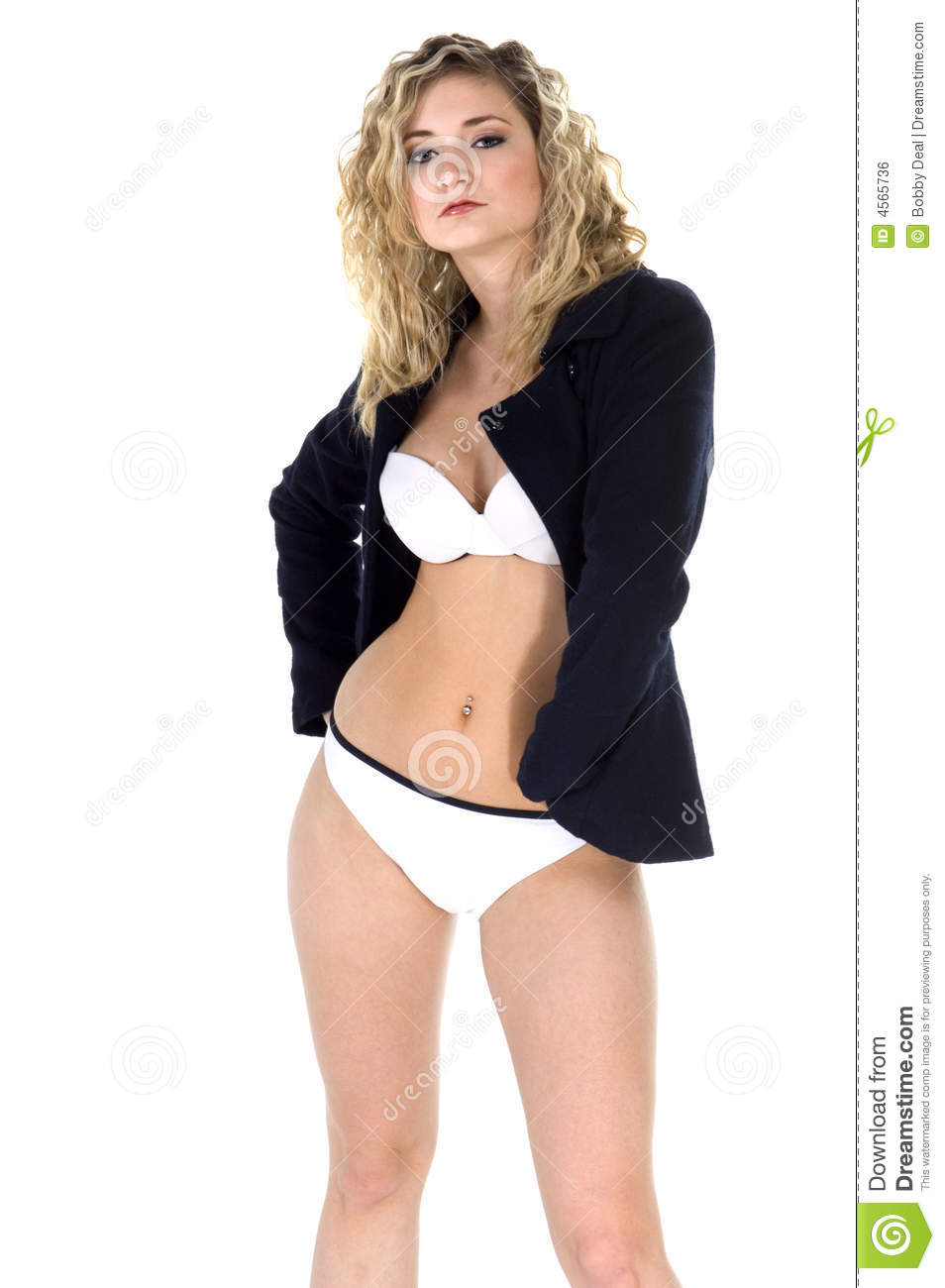 Bikini Pea Coat Royalty Free Stock Image