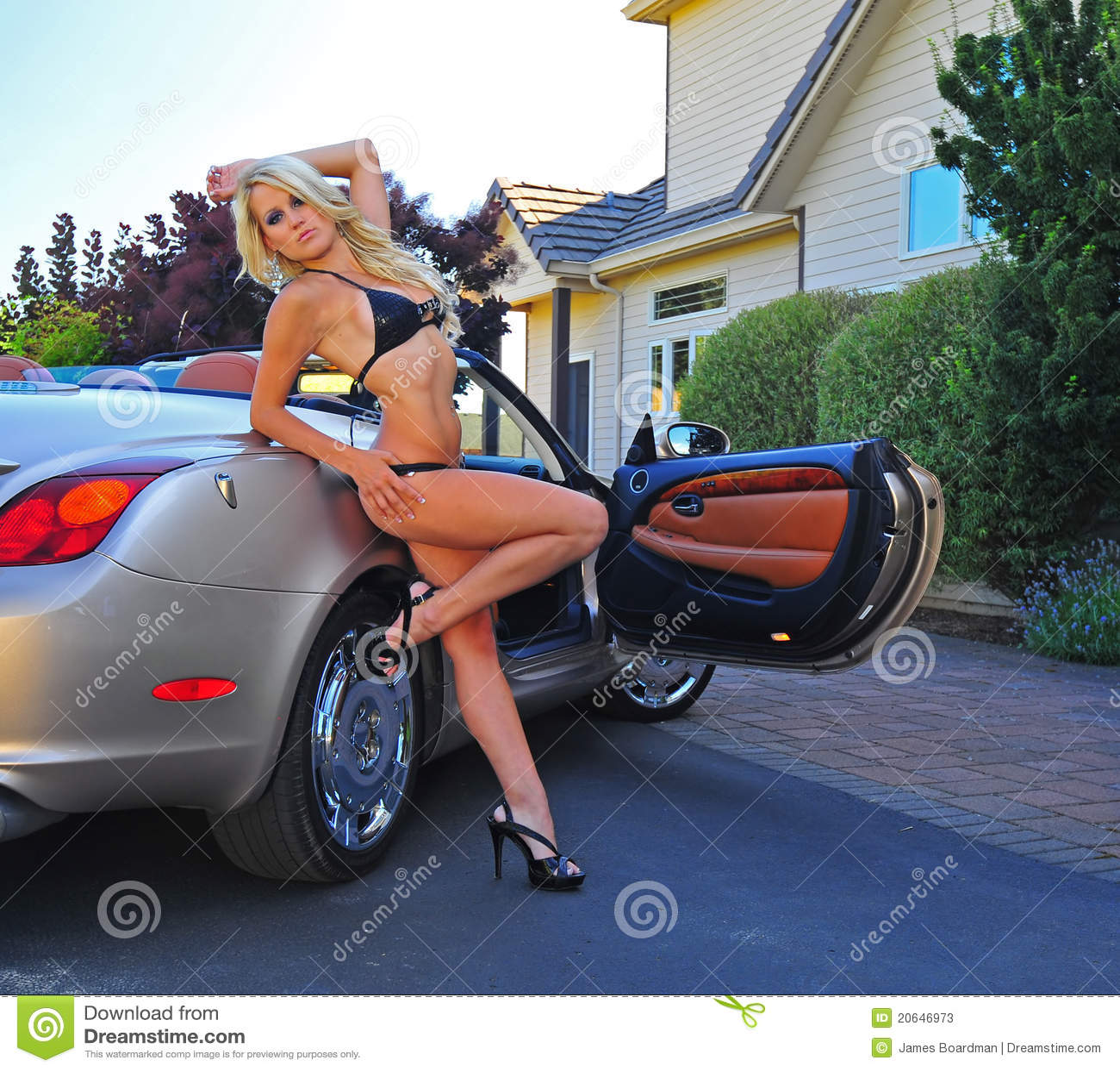 bikini s 39 usant de femme se penchant contre la voiture de sport photos stock image 20646973. Black Bedroom Furniture Sets. Home Design Ideas