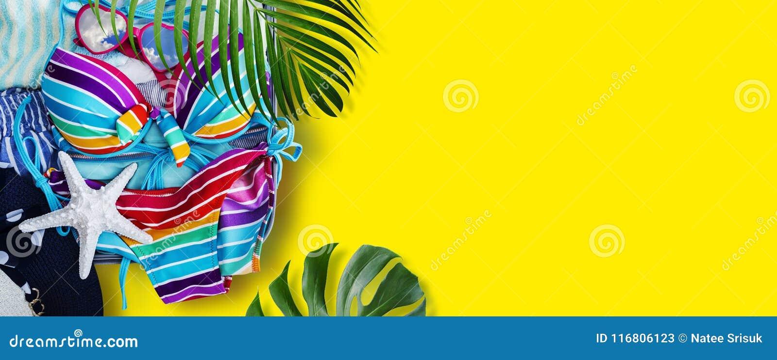 Bikini variopinto e vestiti in bagagli con le foglie tropicali