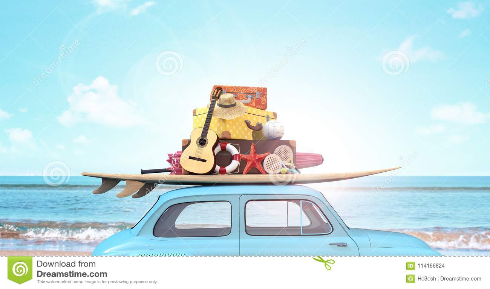 Bil med bagage på taket som är klart för sommarsemester