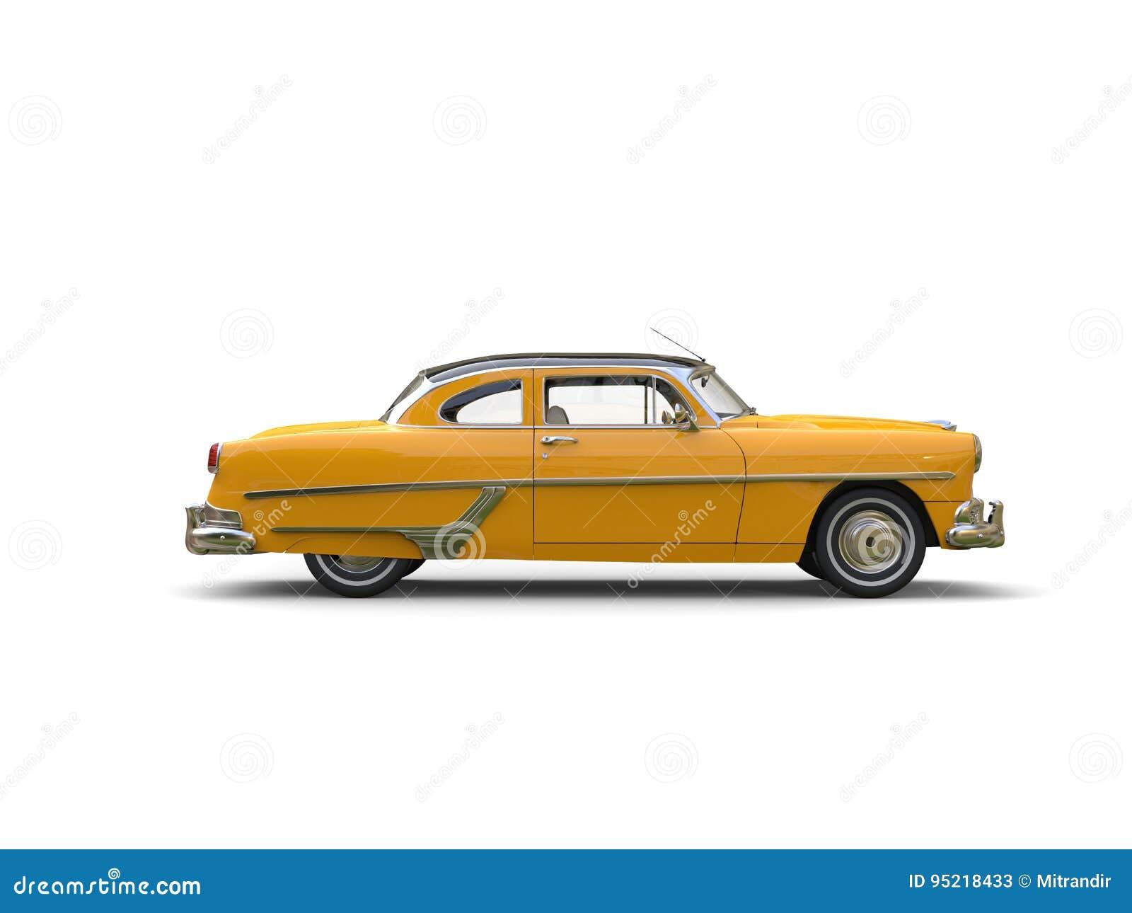 Bil- sidosikt för nätt gul tappning