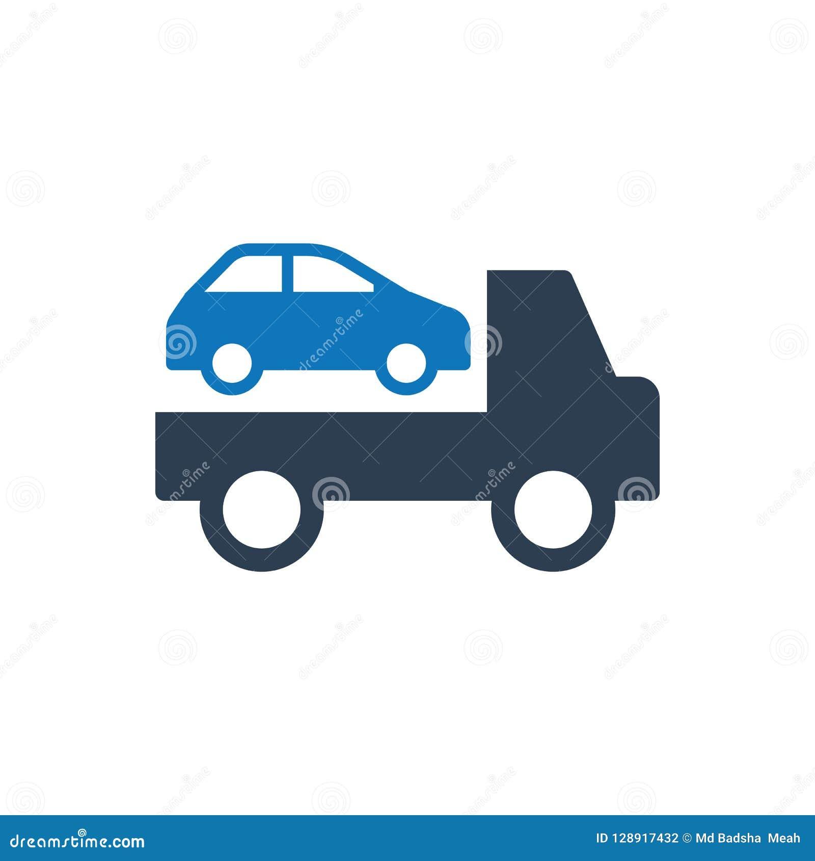 Bil som bogserar lastbilsymbolen