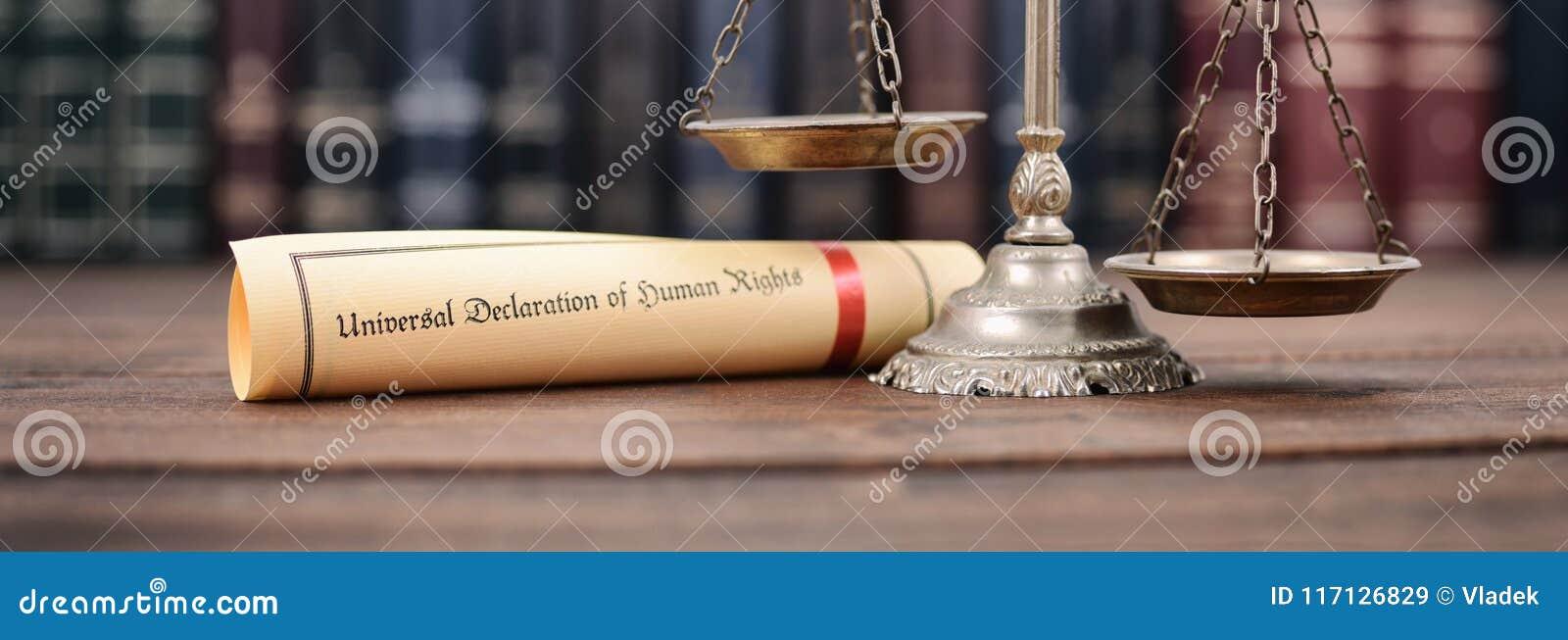 Bilancia della giustizia, dichiarazione universale dei diritti umani