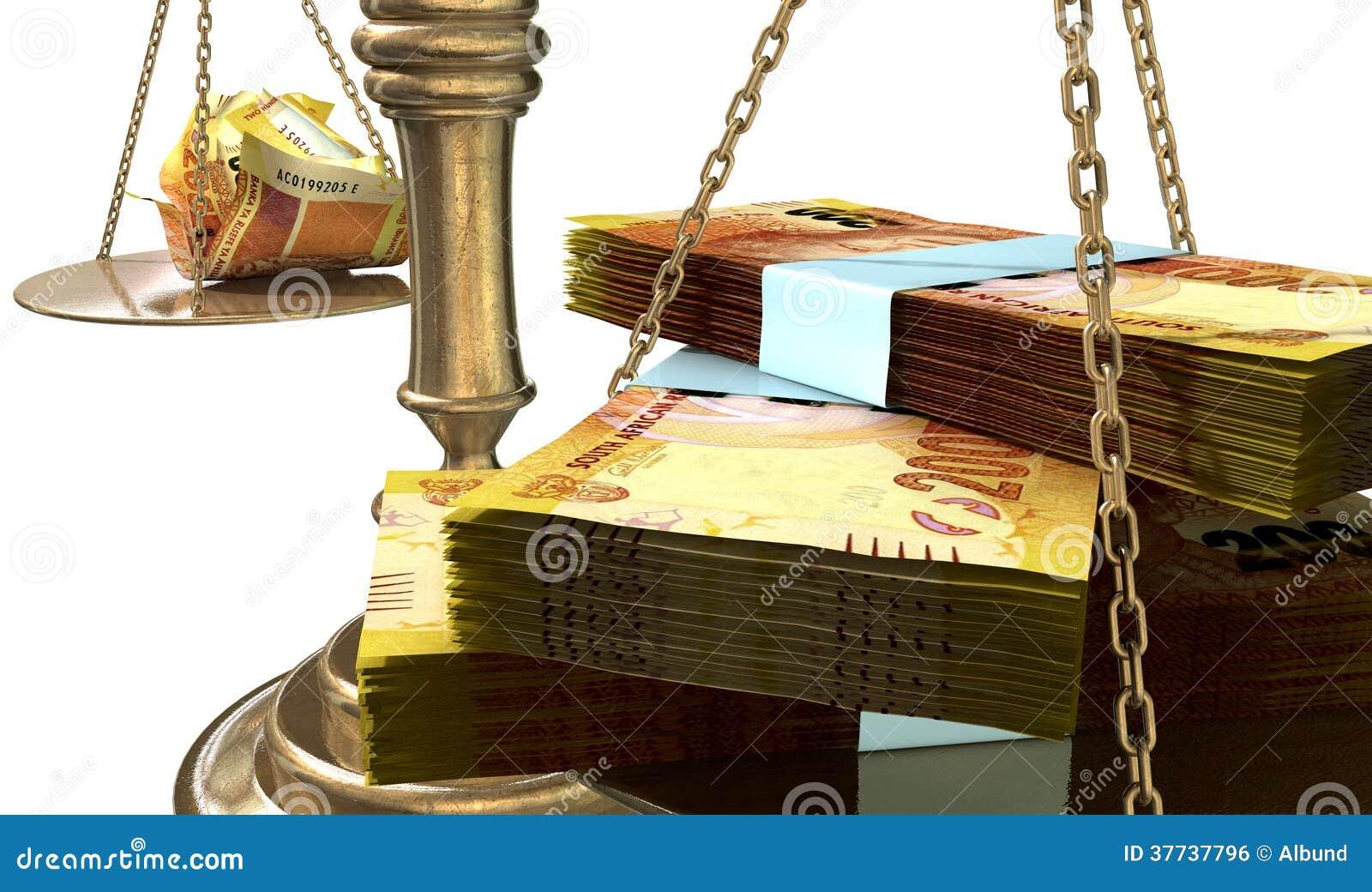 Bilancia della giustizia Income Gap South Africa di diseguaglianza