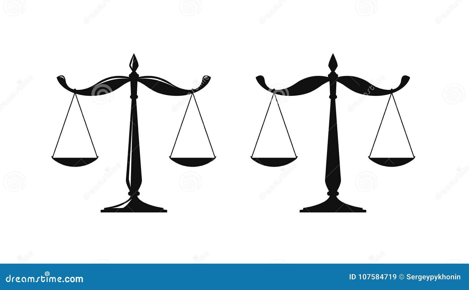 Bilancia Logo Giudiziario Delle Scale Notaio Giustizia Icona Dell