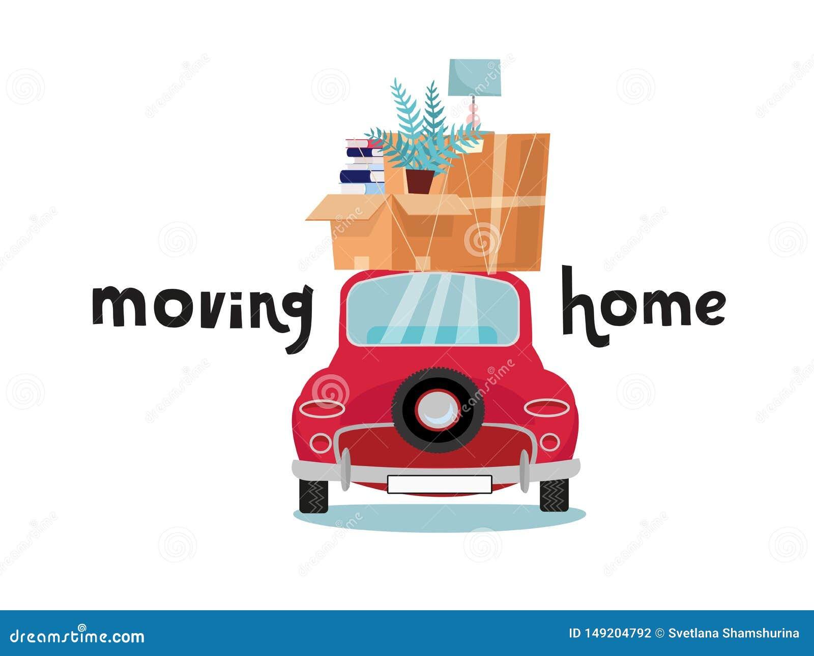 Bilbaksidasikt med bunten av bagage, askar, möblemang på vit bakgrund Röd liten bil med material på taket lampa och böcker överst